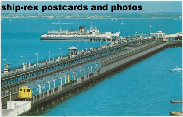 Ryde Pier, train and Sealink ferry, postcard